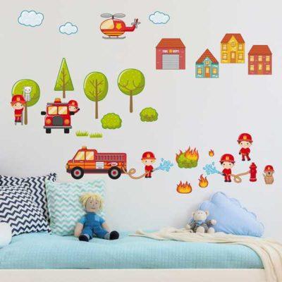 Kinderzimmer Wandtattoo großes Feuerwehr Set Bett