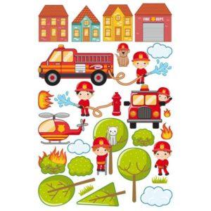 Kinderzimmer Wandtattoo großes Feuerwehr Set Details