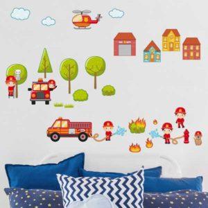 Kinderzimmer Wandtattoo großes Feuerwehr Set Wohnansicht