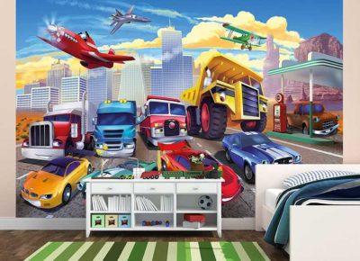 Kinderzimmer Fototapete Autorennen