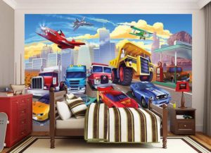 Kinderzimmer Fototapete Autorennen Bett