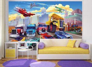 Kinderzimmer Fototapete Autorennen Couch