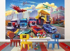 Kinderzimmer Fototapete Autorennen Spielzimmer