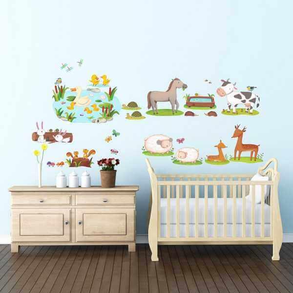 Kinderzimmer Wandtattoo Bunte Feldtiere Babyzimmer