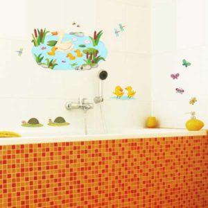 Kinderzimmer Wandtattoo bunte Feldtiere Badezimmer