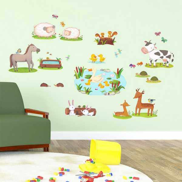 kinderzimmer wandtattoo bunte feldtiere. Black Bedroom Furniture Sets. Home Design Ideas