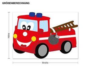 Wandsticker Feuerwehrauto Größe