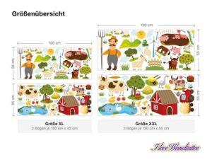 Wandsticker Kinderzimmer Bauernhof Set Größenauswahl