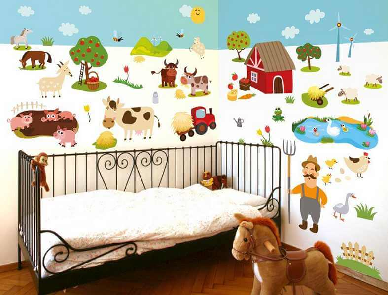 wandsticker kinderzimmer bauernhof set. Black Bedroom Furniture Sets. Home Design Ideas