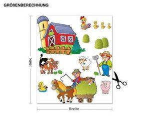 Wandsticker Bauernhof Größenvergleich