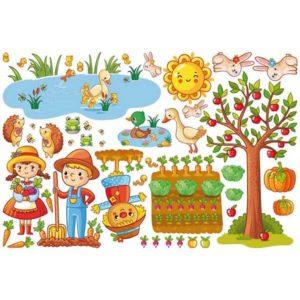 Wandtattoo Bauernhof Set mit Garten Motivansicht