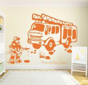 Wandtattoo Feuerwehr mit Wunschnamen in orange