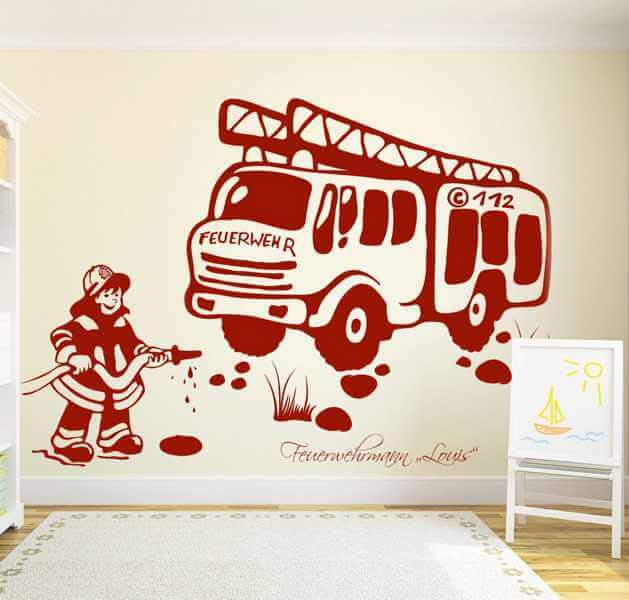 kinderzimmer wandtattoo feuerwehr mit wunschnamen. Black Bedroom Furniture Sets. Home Design Ideas