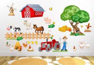 Wandtattoo Kinderzimmer Bauernhof niedliche Tiere