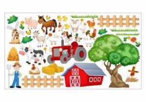 Wandtattoo Kinderzimmer Bauernhof niedliche Tiere Motiv