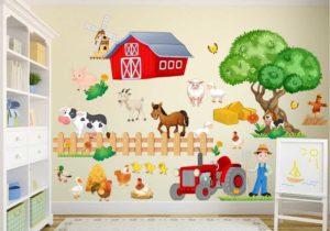 Wandtattoo Kinderzimmer Bauernhof niedliche Tiere Wohnansicht