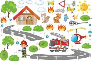 Wandtattoo bunte Feuerwehrwelt Motiv Set
