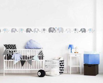 Baby Wandtattoo Elefanten Wohnansicht