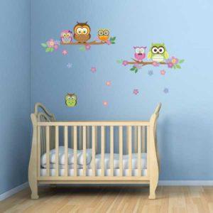 Baby Wandtattoo Eulen Kinderzimmer