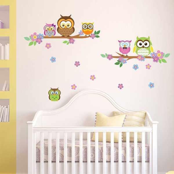 baby wandtattoo eulen f r kinderzimmer. Black Bedroom Furniture Sets. Home Design Ideas