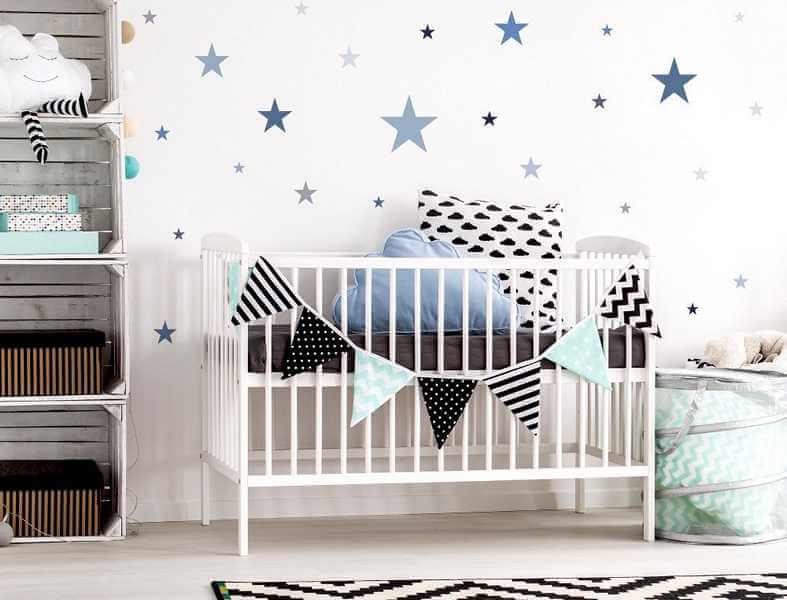 baby wandtattoo sternenhimmel f r kinderzimmer. Black Bedroom Furniture Sets. Home Design Ideas