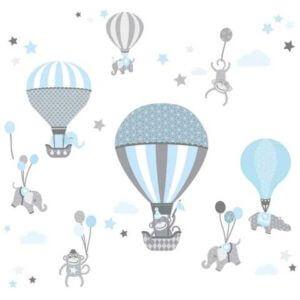 Baby Wandtattoo Tiere mit Luftballons