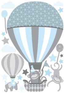 Baby Wandtattoo Tiere mit Luftballons Detail