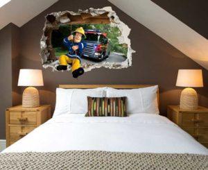 Feuerwehrmann Sam 3D Wandtattoo mit Wohnansicht