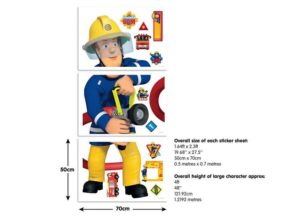 Feuerwehrmann Sam Wandtattoo lebensgroß Abmaße