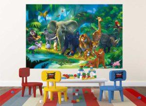Kindertapete Safari im Dschungel Kinderzimmer