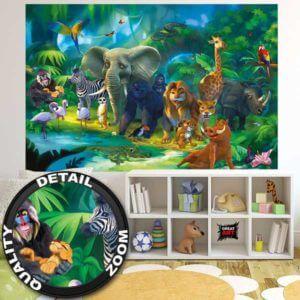Kindertapete Safari im Dschungel Kinderzimmer Details