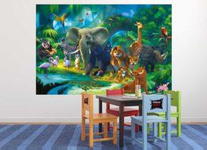 Kindertapete Safari im Dschungel Kinderzimmer Tisch