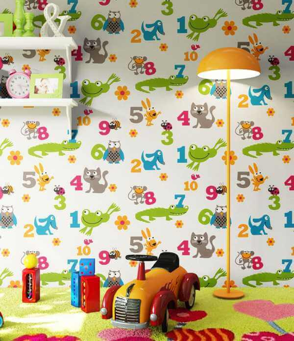 Kindertapete Tiere mit Zahlen Kinderzimmer Wohnansicht Details